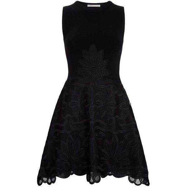 Antonio Berardi Macramé Knit Skater Dress ($2,095) ❤ liked on Polyvore featuring dresses, going out dresses, floral skater dress, knit skater dress, black skater dress and embroidered dress