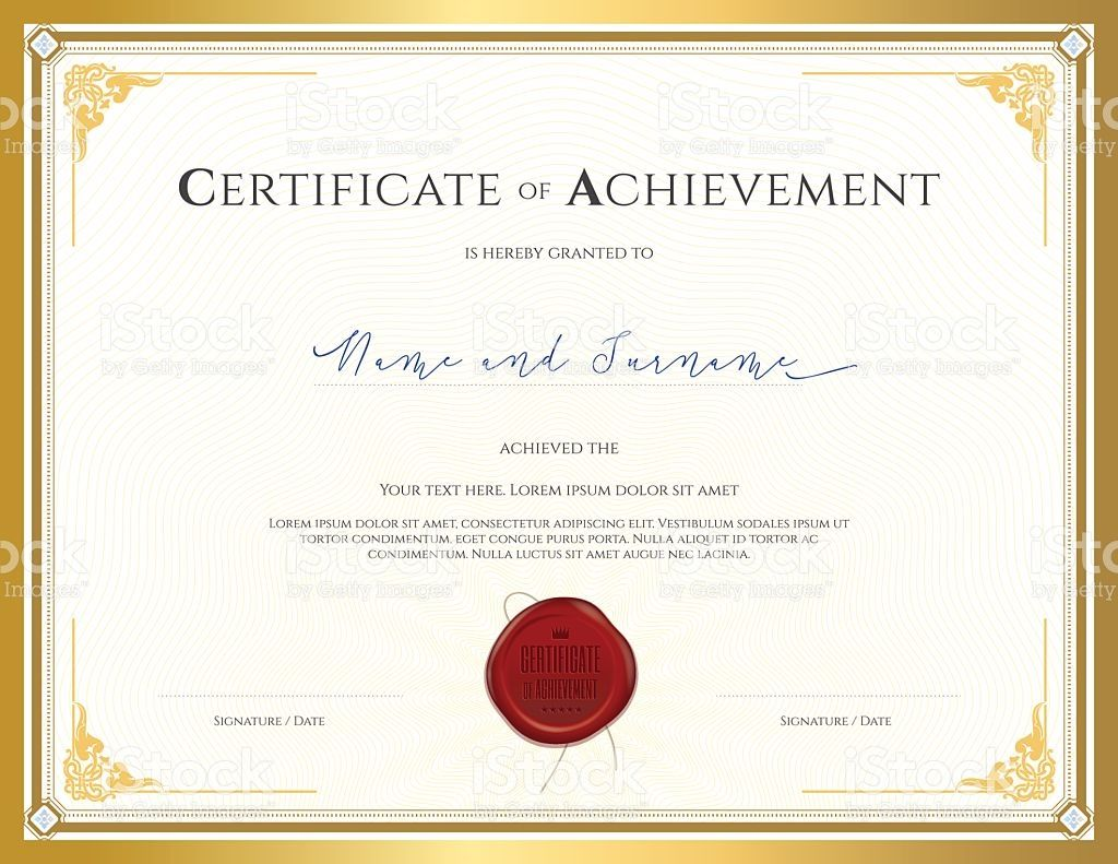 Certificate template for achievement appreciation completion or certificate template for achievement with gold border royalty free stock vector art yelopaper Image collections