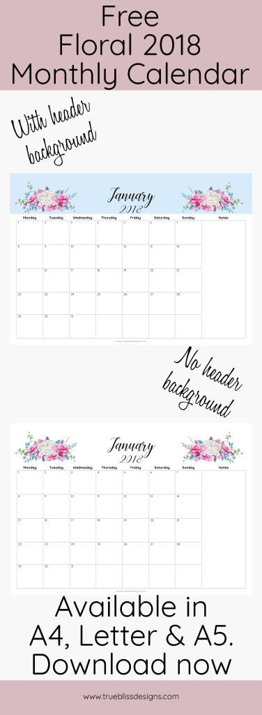 2018 floral printable monthly calendar calendar journal printables