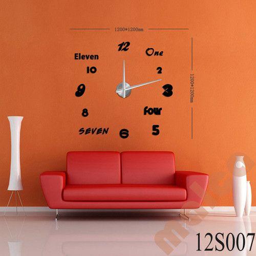 3D Modern Designs Frameless Large Wall Clock DIY Home Decor Style