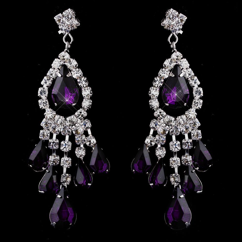 Moonlit Bridals - Silver Amethyst Chandelier Earrings , $39.99 ...