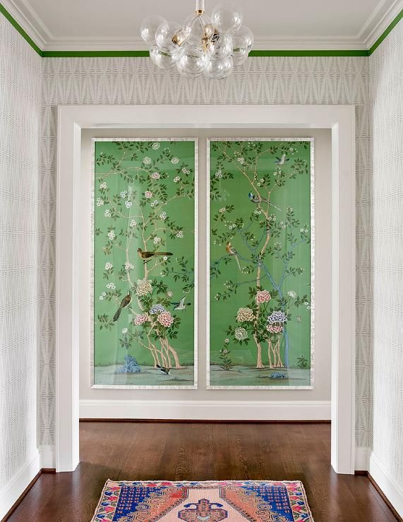 Chinoiserie Wall Panels Wallpaper fireplace, Foyer