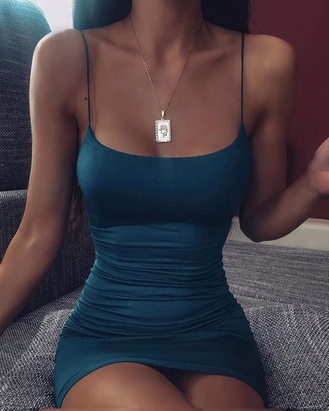 Sleeveless Solid Cami Bodycon Dress