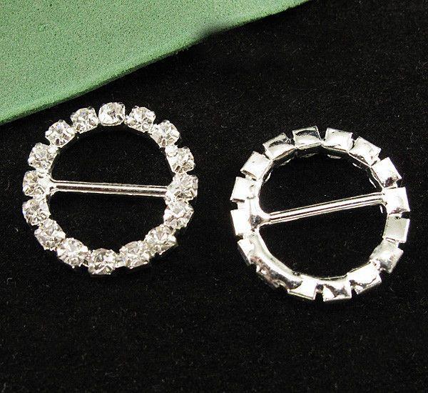 Round 20mm Crystal Diamante Silver Tone Slider Rhinestone Ribbon Buckle oa1181 #New