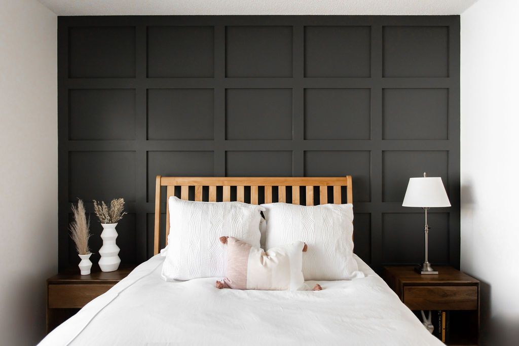 How To Diy A Shaker Panel Accent Wall Construction2style Accent Wall Bedroom Wall Paneling Diy Bedroom Panel