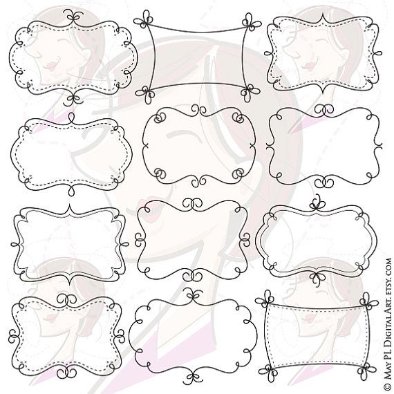 Whimsy Borders Frames Clip Art Diy Labels With Our Cute Etsy Borders And Frames Doodle Frames Clip Art