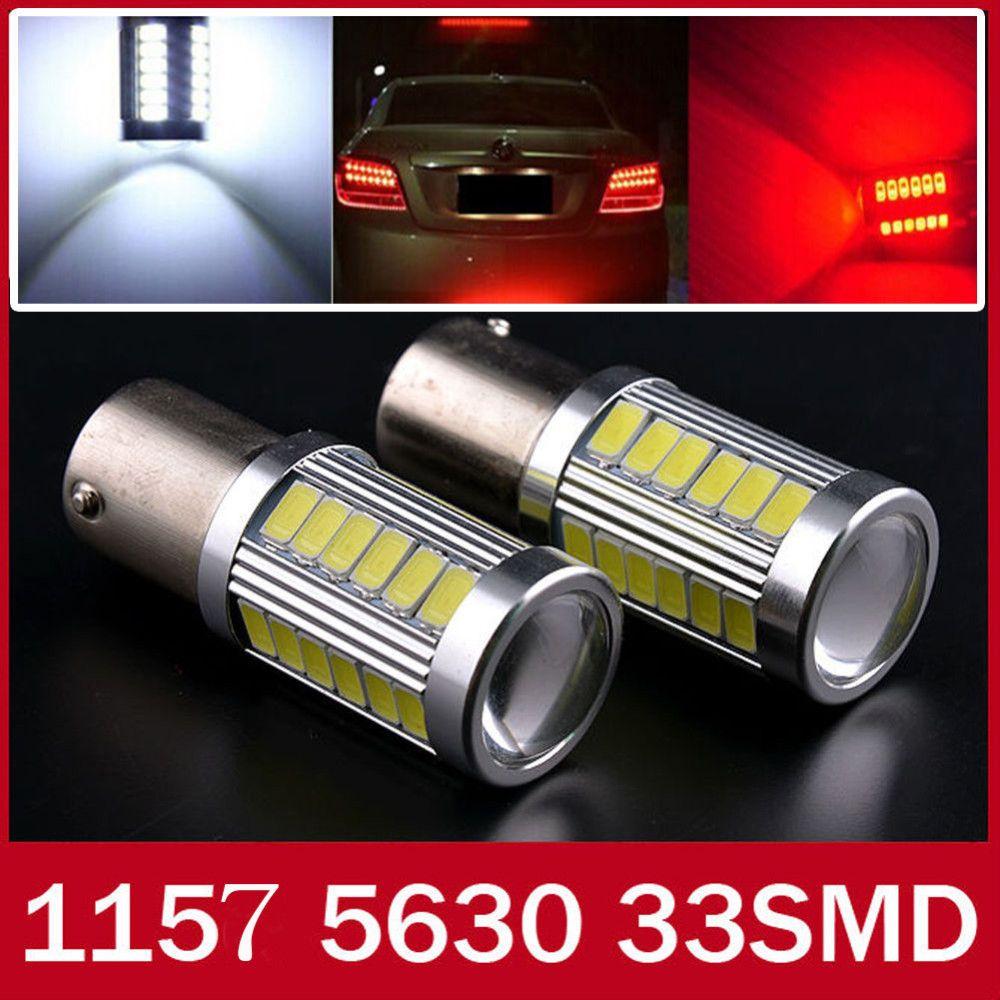 2 unids 1157 BAY15D P21/5 W 33 SMD 5630 5730 LED Coche Blanco Rojo cola Bombilla 21/5 W Luces de Freno auto Faros Antiniebla Luz Diurna 2X