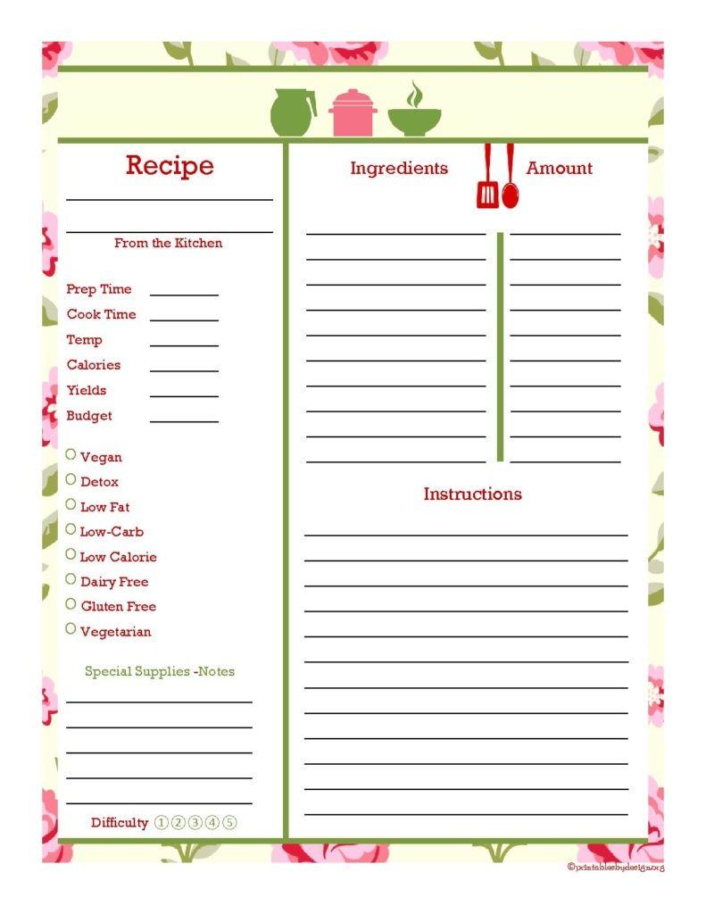 Recipe Binder Recipe Cards Template Recipe Book Diy Diy Recipe Binder