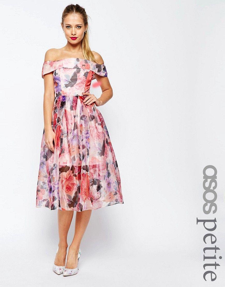 d5b6d62fcde2 Image 1 of ASOS PETITE SALON Floral Bardot Organza Midi | Clothes ...
