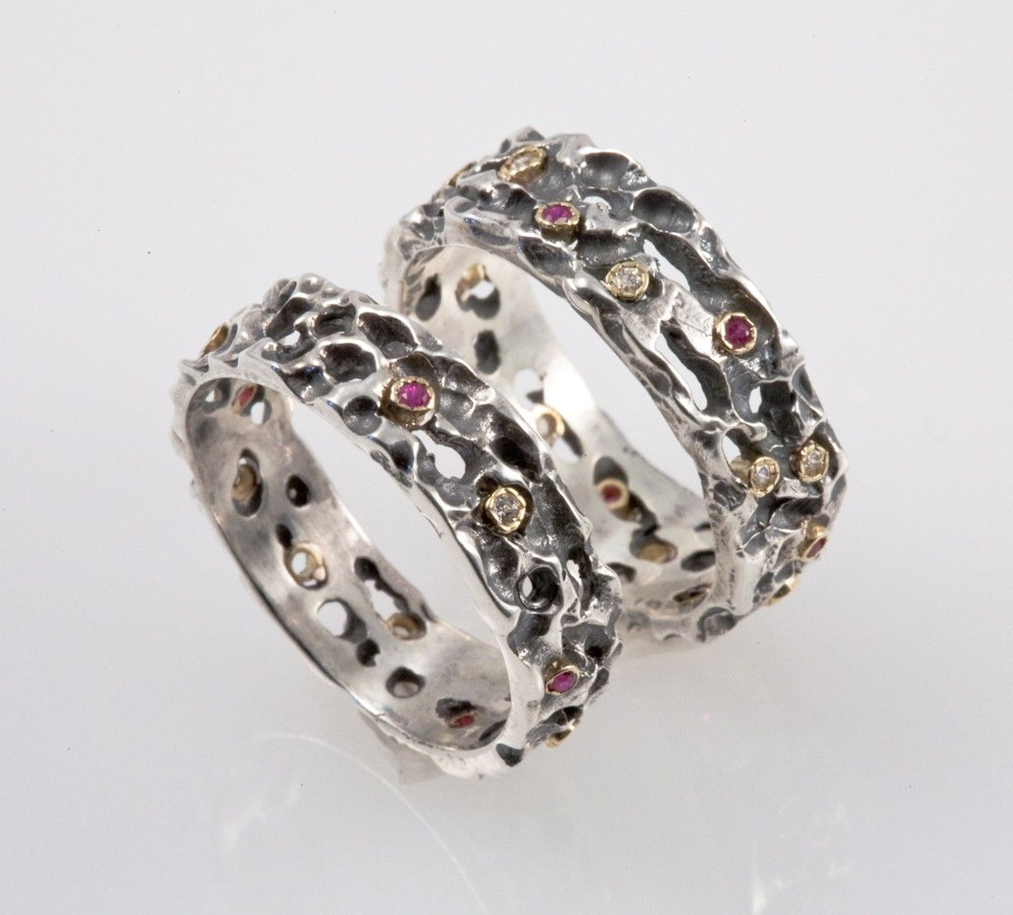 Medieval Wedding Band Set - Made from Silver with Rubies & Diamonds ...