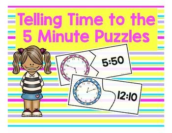 This is a set of 38 interlocking colorful puzzle pairs that ask students to tell time to the five minute (5 minute) mark and match the answer to the correct written form.  This is great activity for independent practice, small group support, or as a telling time math station.