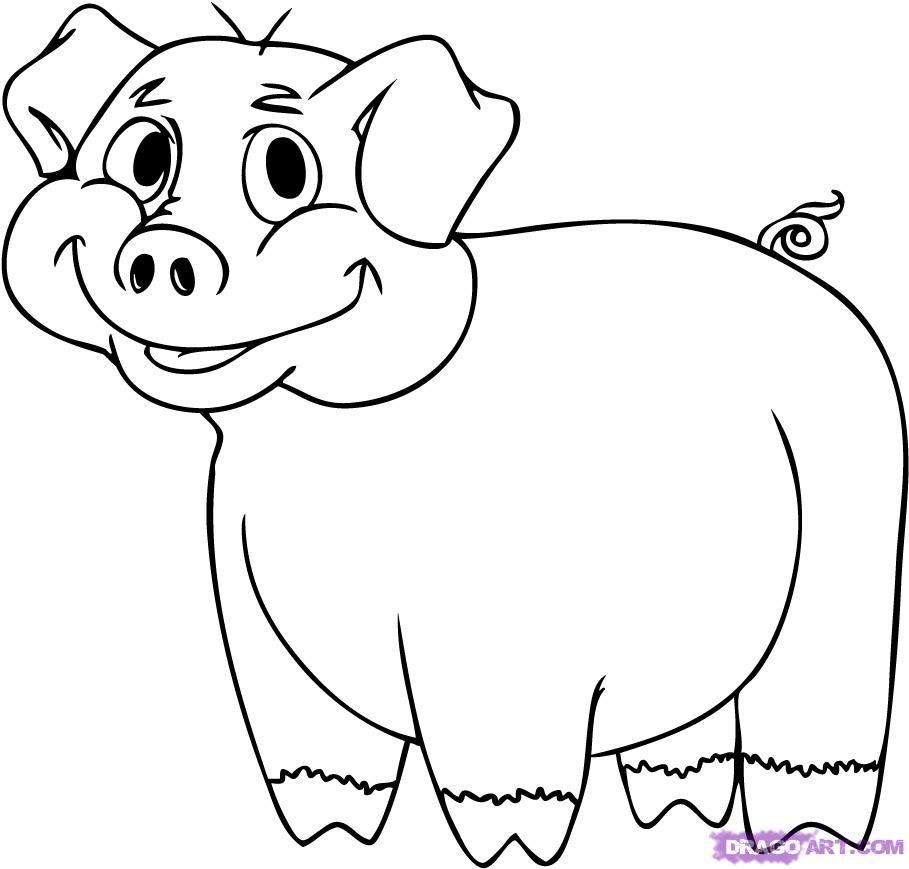 how to draw a cartoon pig step 6 tree murals pinterest