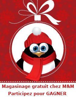 900 $ de magasinage chez Les aliments M Se termine le 22 décembre.   http://rienquedugratuit.ca/concours/magie-des-fetes-aliments-mm/