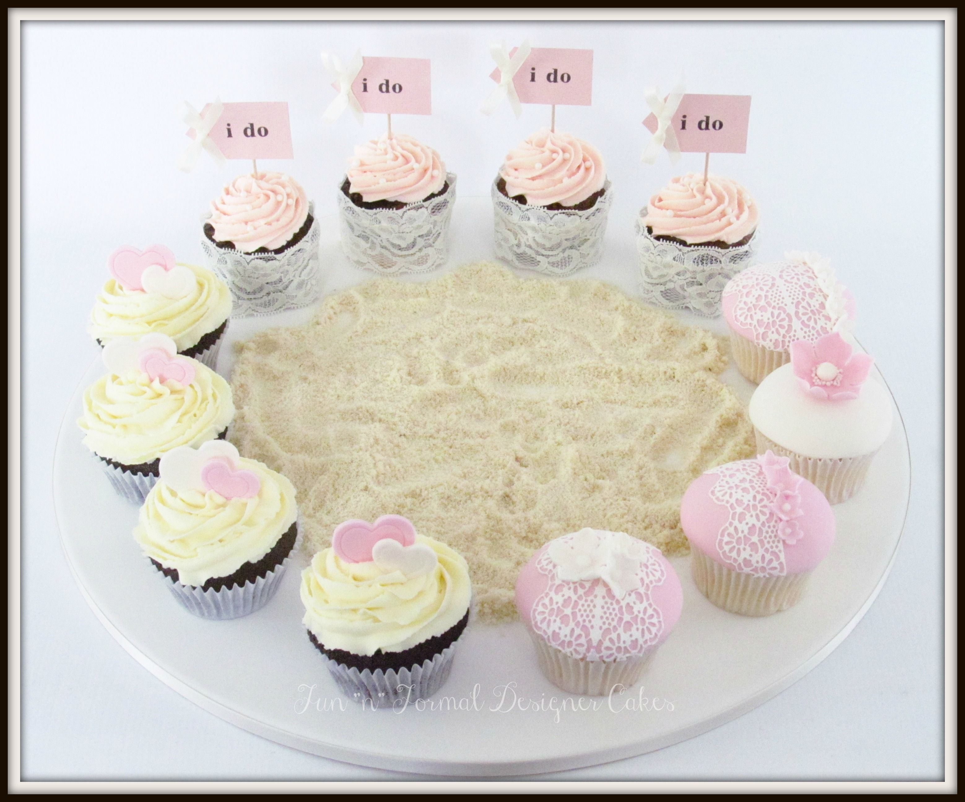 Pink beach themed wedding cupcakes. | Wedding and Engagement Cakes ...