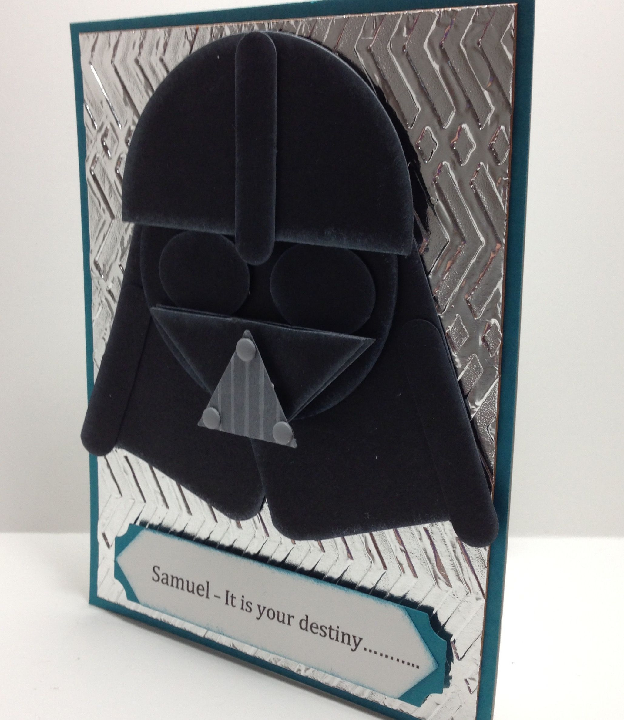 Darth Vader Punch Card for Samuel - Embossed foil Zig Zag TIEF, Island Indigo, Vanilla, Basic Black, Project Life Framelits, Word Window, Triangle, Corner Rounder, Small Oval, Circle Punches