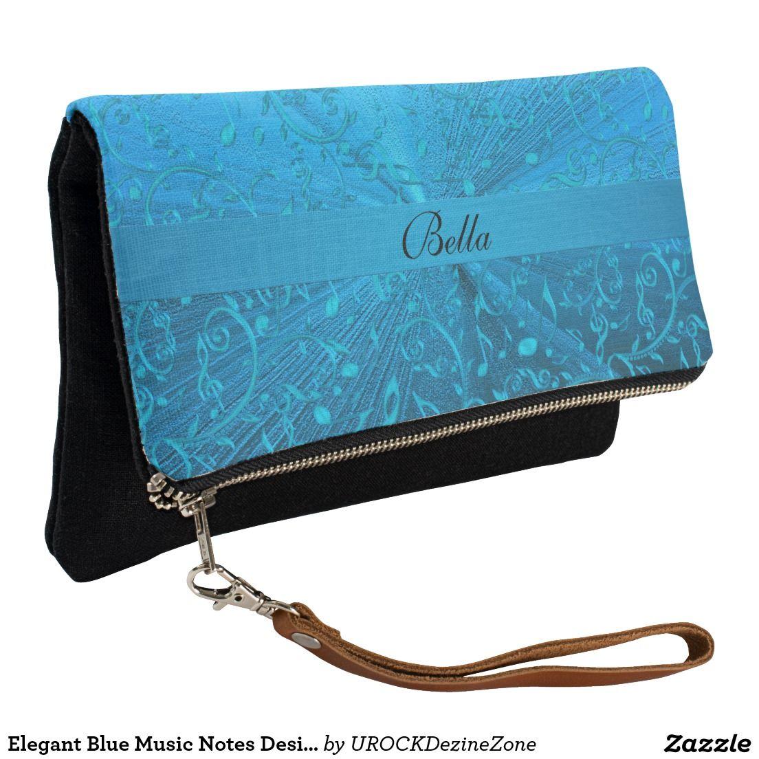 Elegant Blue #Music Notes Design #Clutch #Purse #Bag  #zazzle