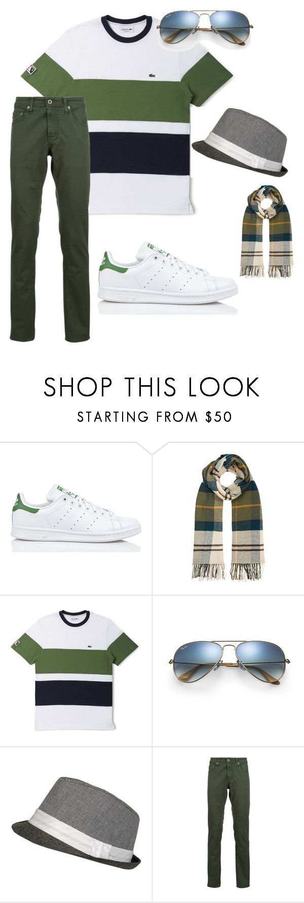 """""""Date out"""" by stylizia ❤ liked on Polyvore featuring adidas, Barbour, Lacoste, Ray-Ban, AG Adriano Goldschmied, men's fashion and menswear"""