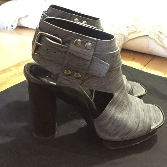 Calvin Klein Collection Grey Open Toe Booties Grey leather upper, wood base and heel, slight wear around bottom, comes with original dust bag Calvin Klein Shoes Platforms