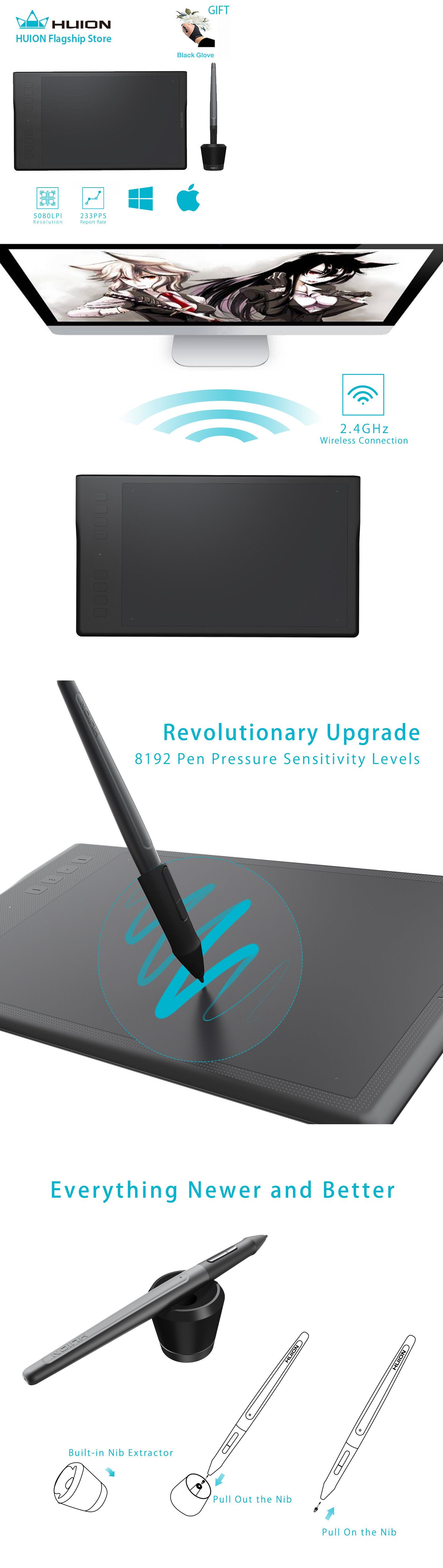 Huion Inspiroy Q11K Wireless Graphic Drawing Tablet with 8192