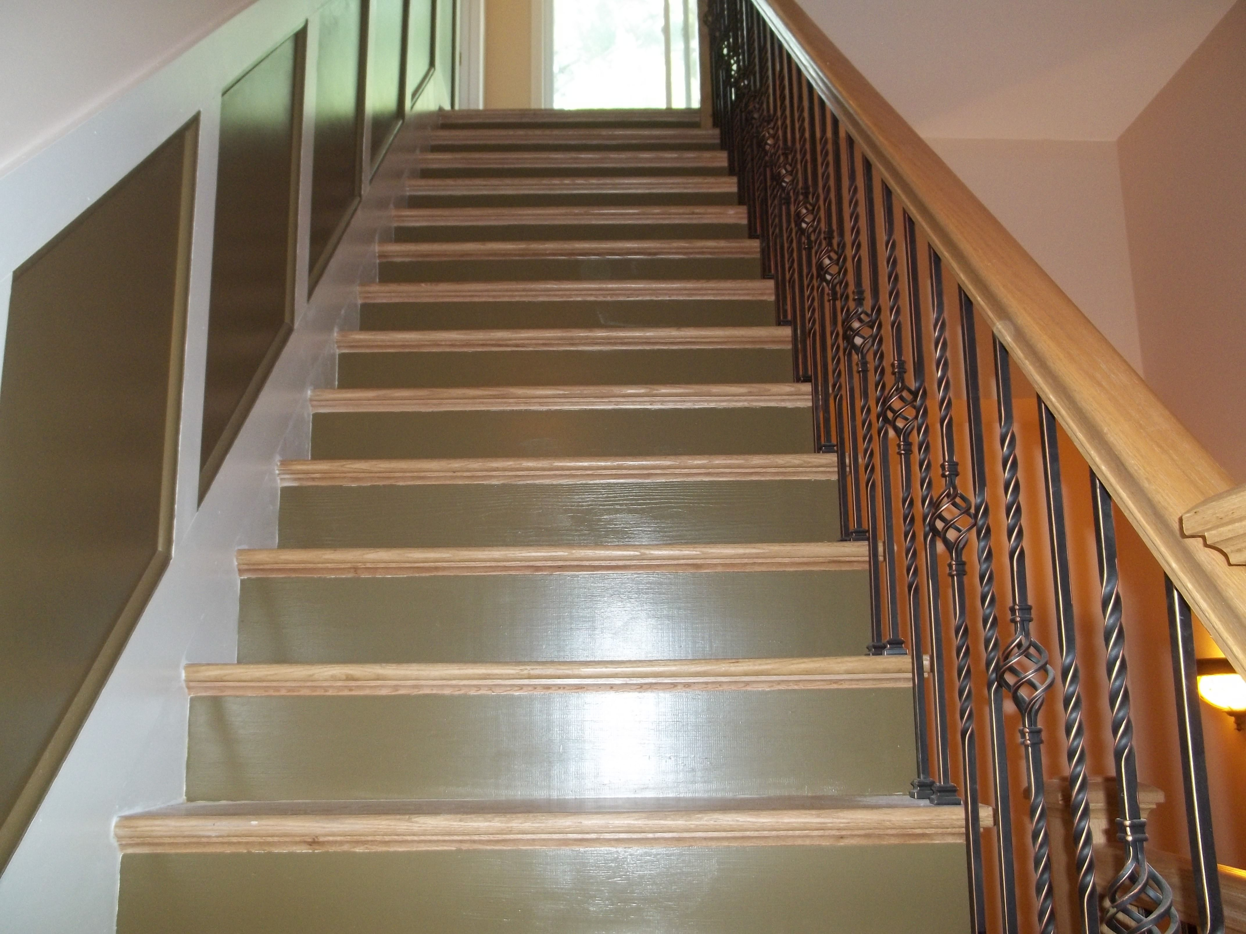 Interior Custom Stair Painting Of The Risers, Stringers And Wall Trim In  Catskill, NY.