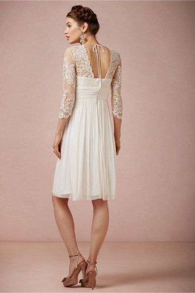 Trapeze 3 4 Sleeve V Neck Short Chiffon Lace Dress Silk Civil Marriage