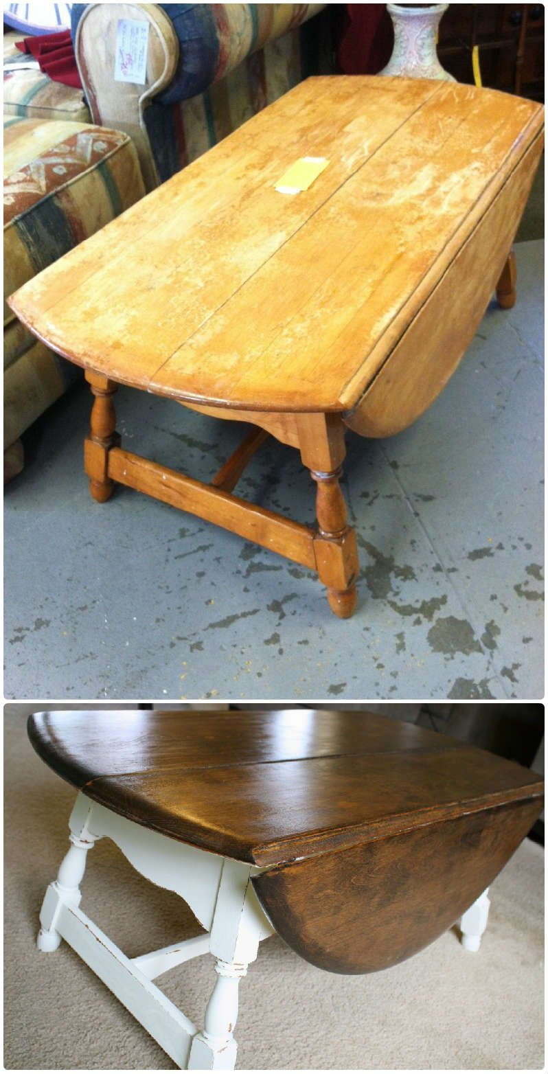 Drop Leaf Farmhouse Coffee Table top had been completely