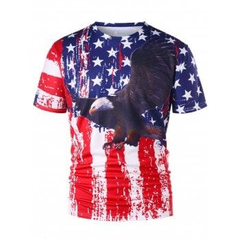 79cba924684 Free shipping 2018 American Flag Eagle 3D Print T-shirt COLORMIX M under   15.64 in T-Shirts online store. Best Plaid Pants and American Flag Pants  for sale ...