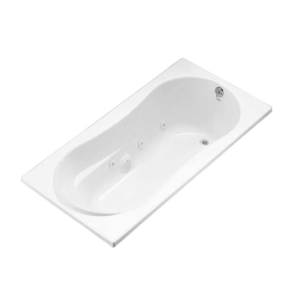 KOHLER 7236 6 ft. Whirlpool Tub with Right-Hand Drain in White ...