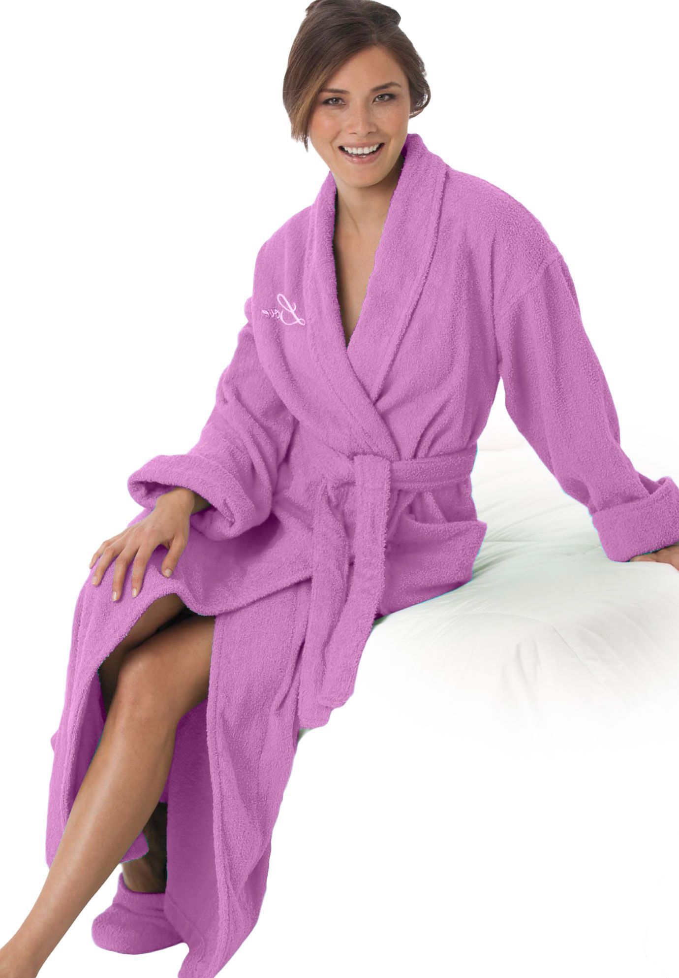 Plus Size Long terry robe with FREE matching slippers by Dreams & Co® | Plus Size spa | Woman Within