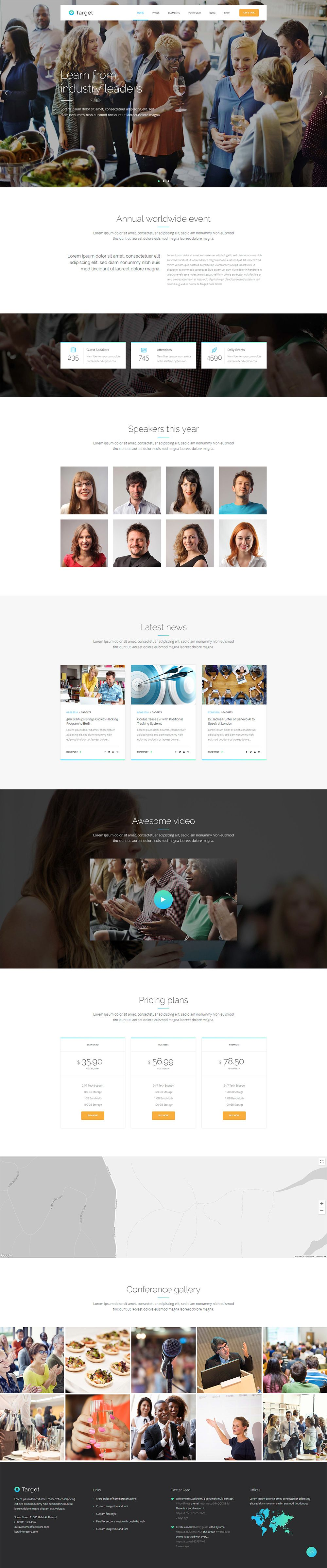Present Your Conference With A Modern Website With The Help Of Target Wordpress Theme Wordpress T Hacking Programs Modern Website Business Wordpress Themes