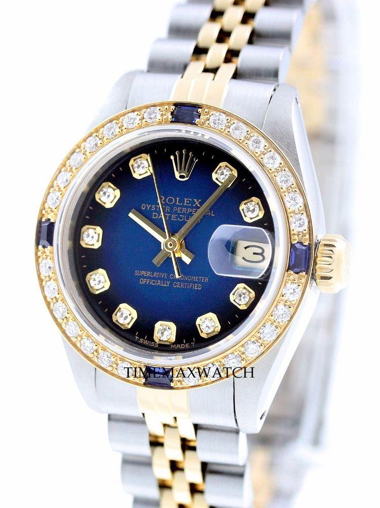 Rolex Women's Datejust SS & 18K Gold Blue Sapphire Diamond ...