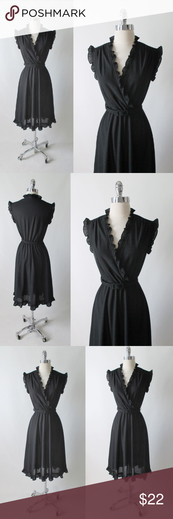 Vintage 70 S Black Ruffle Dress M Black Ruffle Dress Ruffle Dress Black Ruffle [ 1740 x 580 Pixel ]