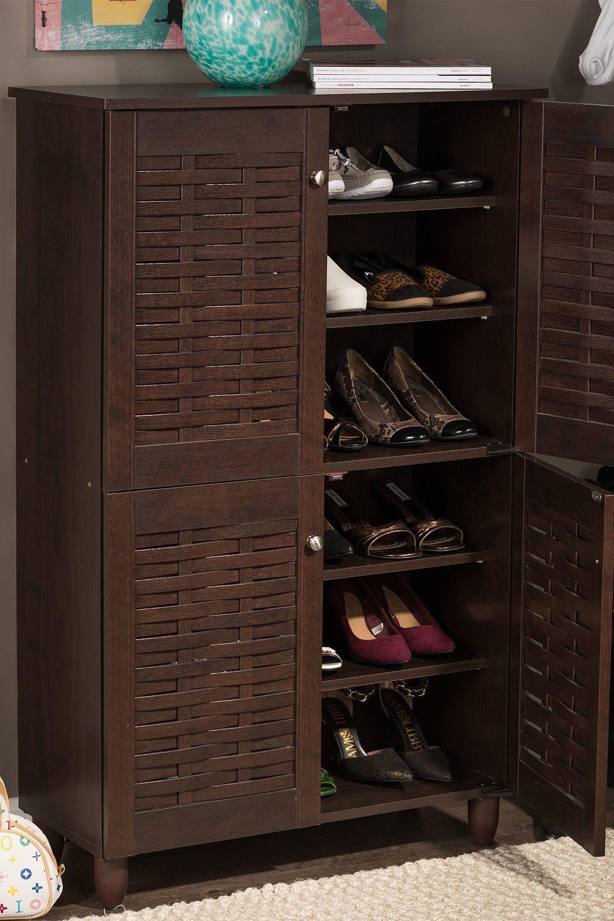 wholesale interiors winda modern contemporary 4 door on shoe rack wooden with door id=97031