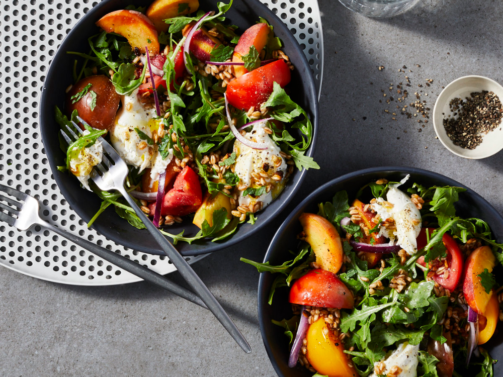 Peach Tomato And Fried Farro Salad With Burrata Recipe Recipe Farro Salad Peach Salad Wine Recipes