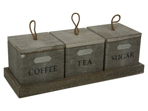 Set Of 3 Rustic Timber Tea Coffee Sugar Canisters Lifestyle
