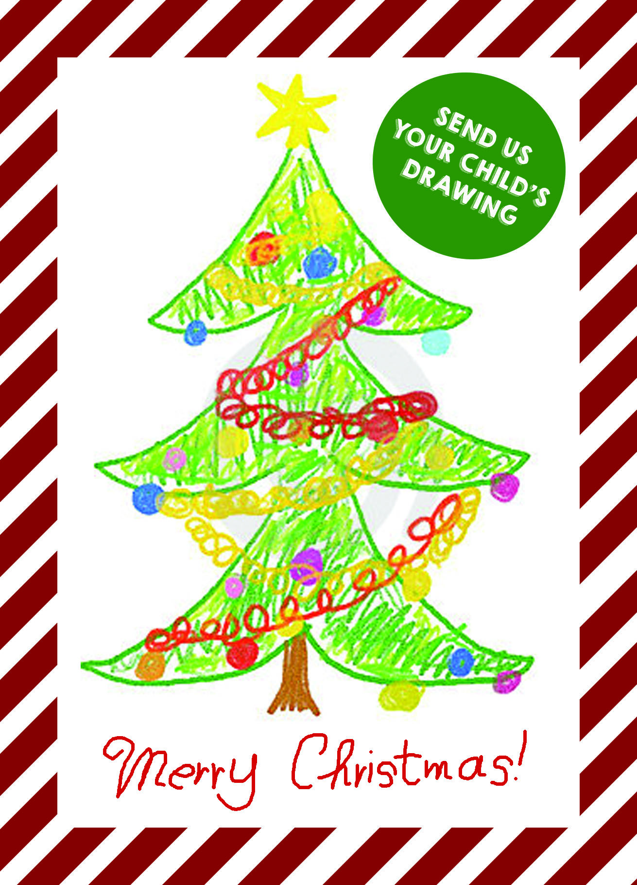 Your Kids Personalised Drawing Christmas Cards Folded Cards A6
