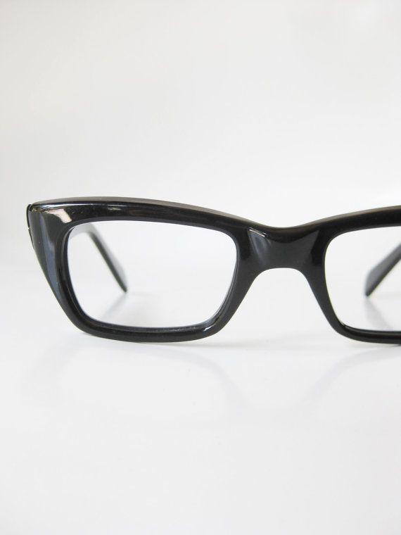 e73436314c4e 1950s Black Reading Glasses Vintage Horn Rim Eyeglasses Mens Guys Homme  Obsidian Midnight Shiny Shine 50s Mid Century Modern Mad Men