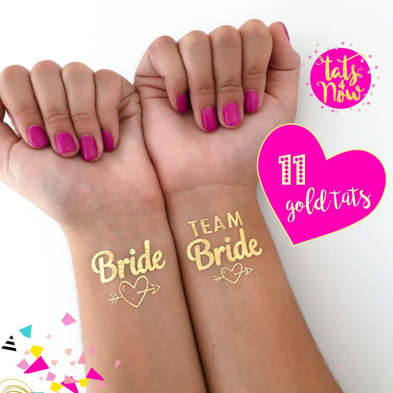 11 Team Bride & Bride Gold temp tattoo with heart | That wedding ...