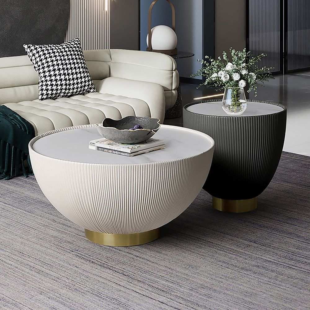 Gray Drum Coffee Table Stone Round Pu Leather Accent Table In Gold In 2021 Round Coffee Table Modern Drum Coffee Table Coffee Table [ 1000 x 1000 Pixel ]