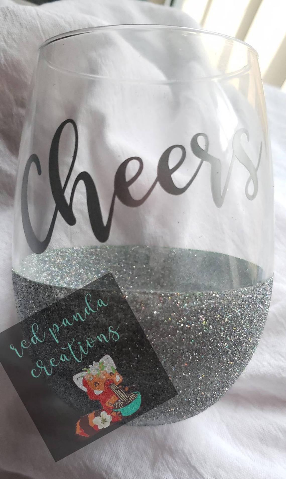 Personalized glitter wine glassesglitter stemless wine