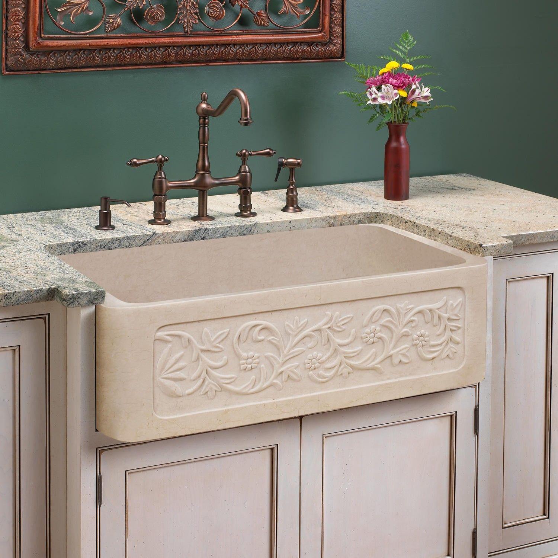 "30"" Polished Vine Design Marble Single Bowl Farmhouse Sink"