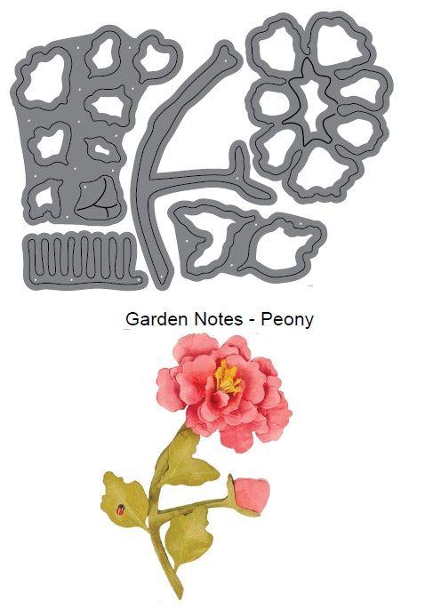 Elizabeth Craft Designs Die Garden Notes Peony By Susan Tierney