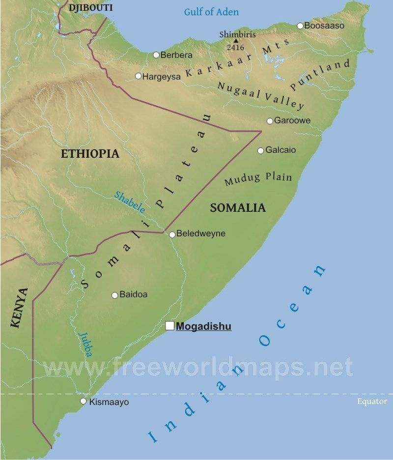 Somalia Physical Map Somalia Pinterest Africa