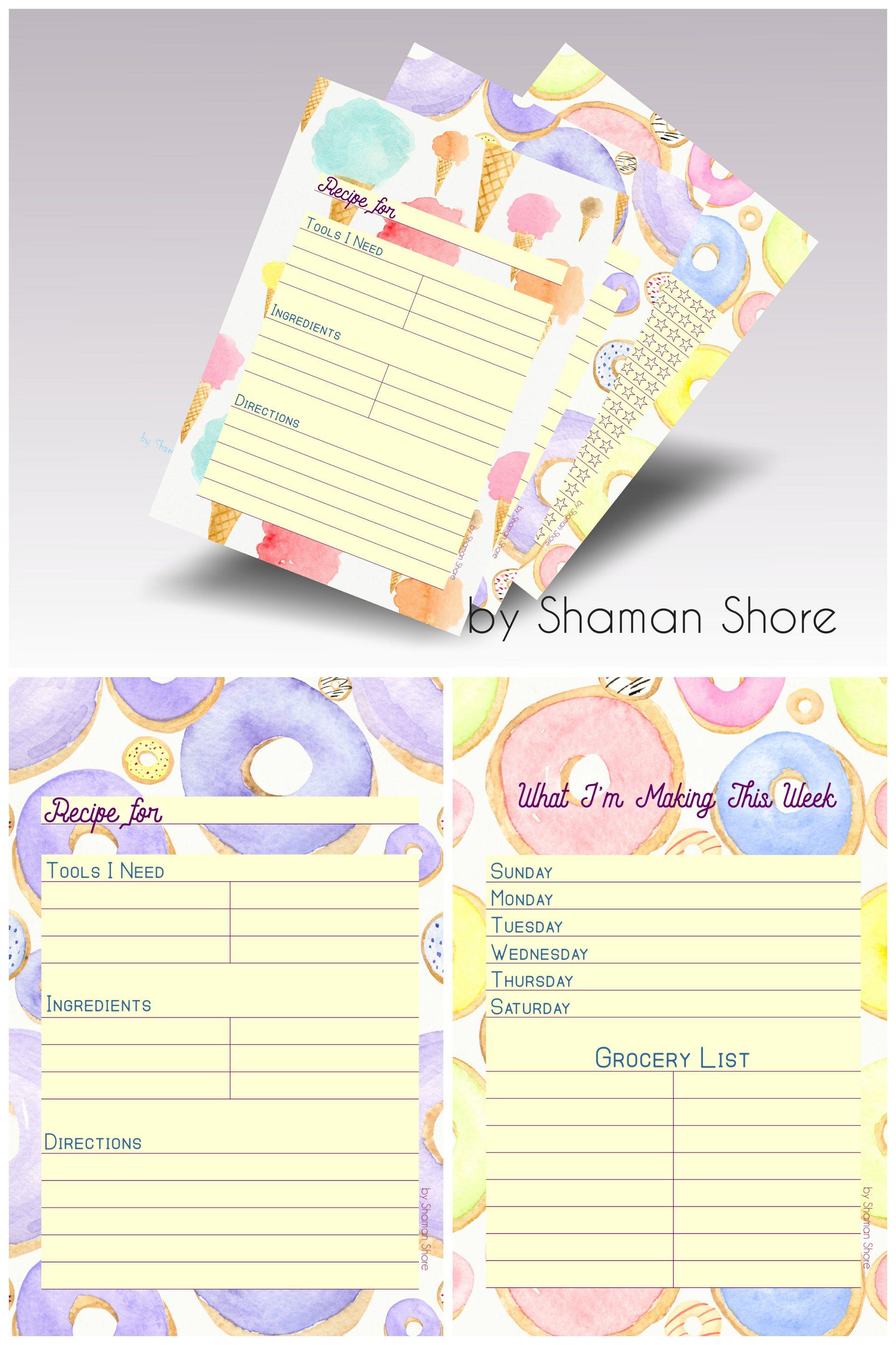 recipe page template pdf