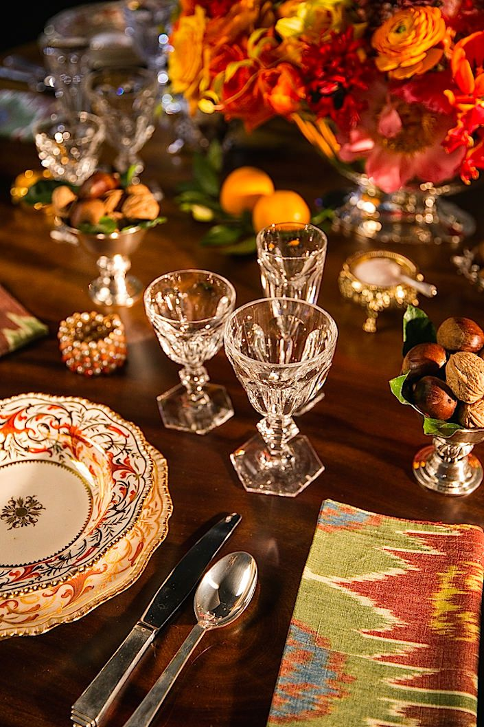 Early 19th century Coalport china and timeless Baccarat crystal with ikat napkin