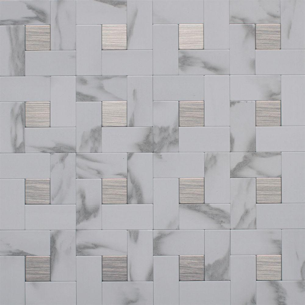 Instant Mosaic 12 In X 12 In Peel And Stick Faux White Marble And Brushed Stainless Metal Wall Tile Ekb 03 108 With Images Instant Mosaic Mosaic Wall Tiles