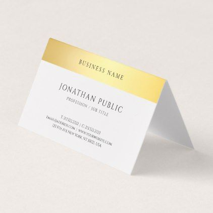 Elegant Modern Gold White Simple Template Folded Business Card Zazzle Com Folded Business Cards Trendy Business Cards Business Cards Elegant