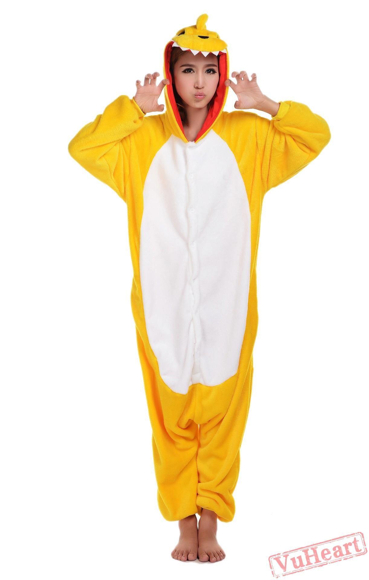 2e56f30da Yellow Dinosaur Kigurumi Onesies Pajamas Costumes for Women   Men in ...