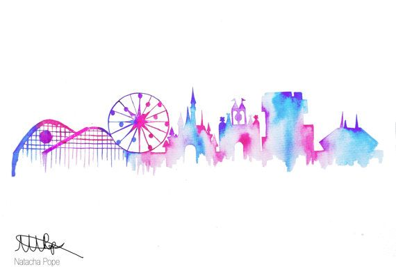 Disneyland and California Adventure Skyline by CoconuTacha on Etsy, £10.00