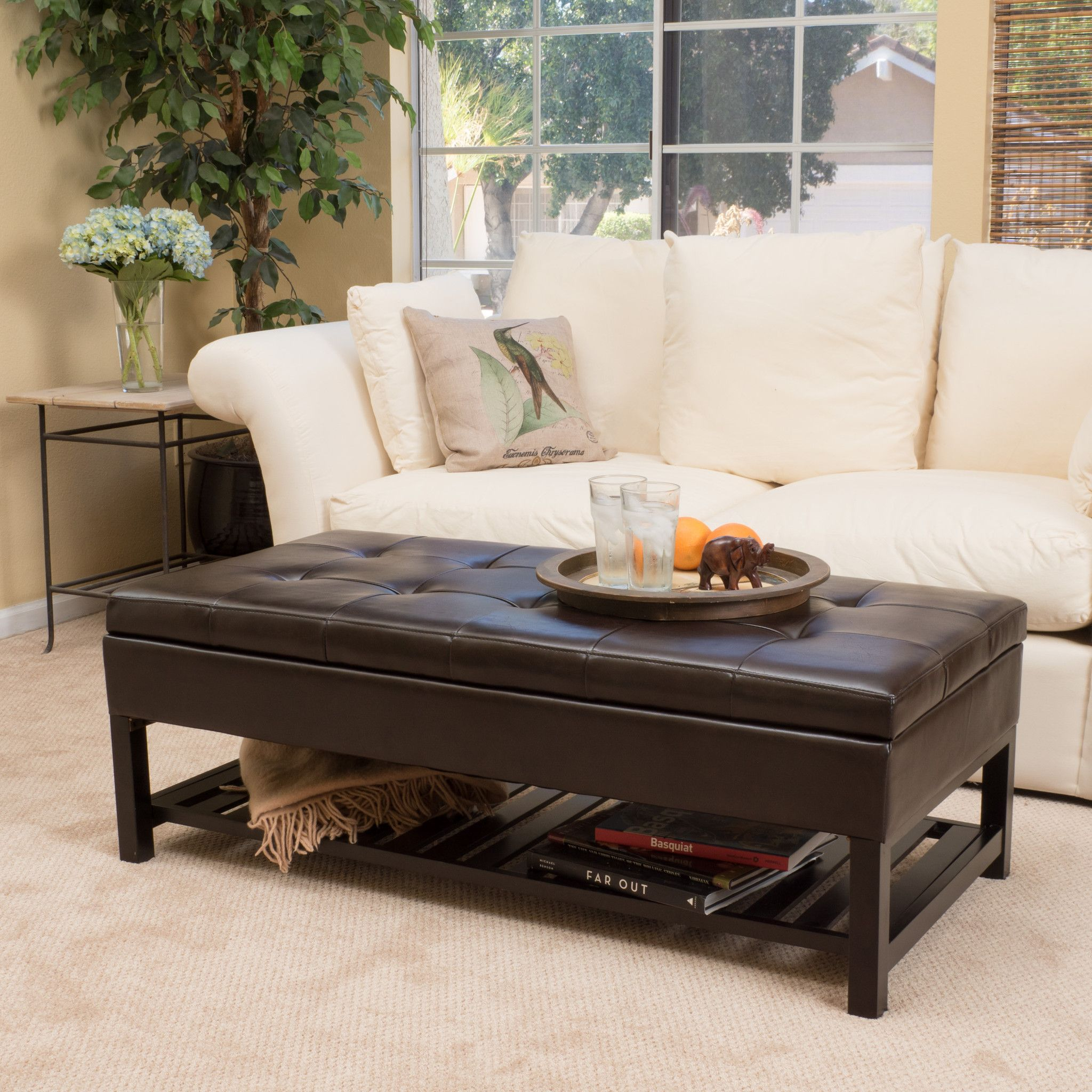 Felix Brown Wood Rectangle Storage Ottoman Coffee Table With